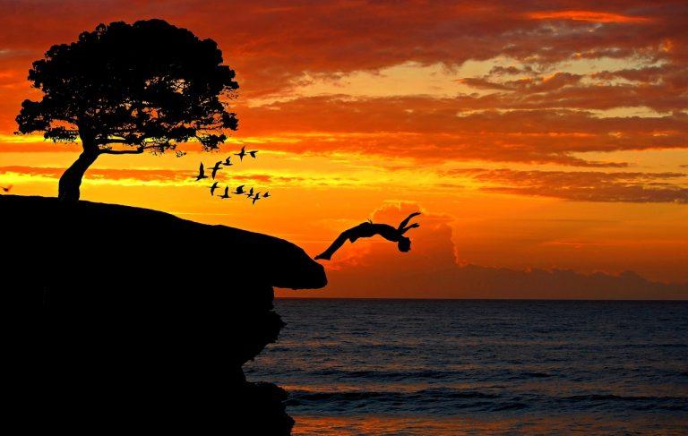 boy, cliff, jump
